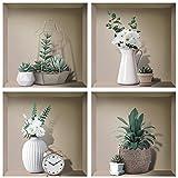4 Pcs Stickers Mural 3D Vase,Autocollant Mural Plante,Sticker Muraux Vases de Salon,Murales de 3D Vases,Autocollant Muraux Fleurs Décoration,Autocollants de Feuille Verte,Amovibles Autocollants Vase