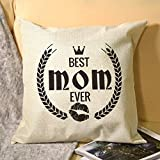 Funda de almohada de lino con impresión de un solo lado en blanco y negro con letra Best Mom Ever Crown Kiss para cama o sofá para decorar en casa y cocina, hotel o firme, el mejor regalo del día de la madre, Navidad, cumpleaños para mujeres, papá, amigos.