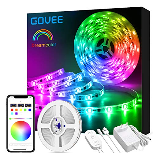 Govee Dreamcolor LED Strip Beleuchtung, 5m Wasserdicht LED Streifen Sync mit Musik, Farbwechsel Steuerbar via Handy Licht Band, LED Stripes für Party, Raum, Schlafzimmer, TV, Küche, Weihnachten Deko
