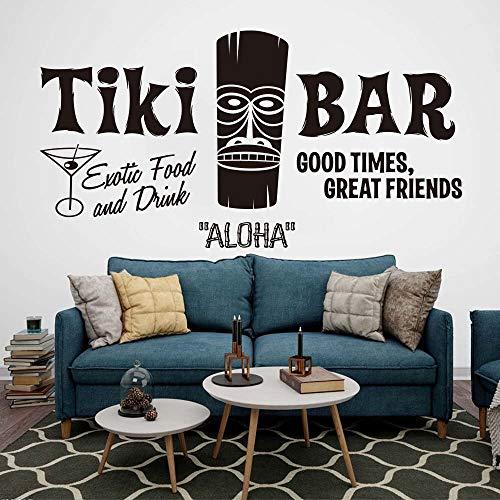 Tiki Bar calcomanía hawaiana vinilo DIY pegatina de pared Aloha tótem verano playa cita inspiradora dormitorio sala de estar decoración del hogar arte mural cartel