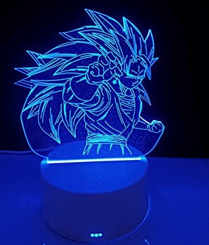 Lámpara mesita de noche de decoración anime luz nocturna infantil Goku dragon ball lámpara decorativa ilusión óptica 3d regalo de navidad, cumpleaños para niños y niñas