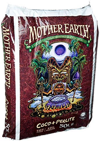 Mother Earth HGC714837 Coco Plus Perlite Mix For Indoor and Outdoor Container Gardens, Provides Strong Aeration & Drainage 70% Coconut Coir, Resists Compaction, 50 Liter