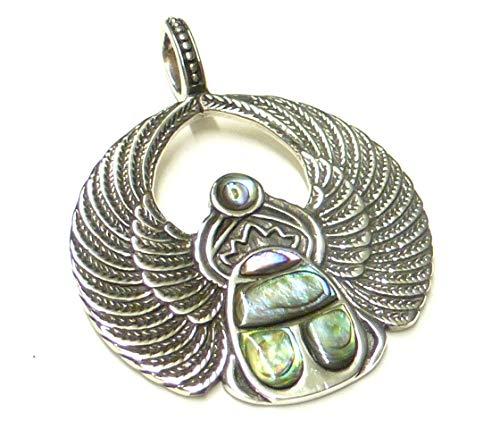Anhänger Silber, Motiv Scarabäus, mit Abalone Muschel, aus 925 Sterling Silber gearbeitet, Geschenk, Schmuck, Schutzsymbol