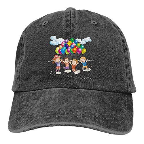 SVDziAeo Mütze Zeichnung Clip Art Strand Kinder Spielen mit Luftballons Materi Aaacebef Unisex hochwertige Cowboyhut verstellbare Rückseite Knopf Hut
