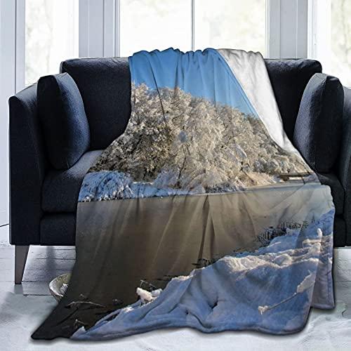 The Lake Snow Coperta super morbida e soffice, calda trapunta divano in microfibra coperta per uomini e donne80 'x160'