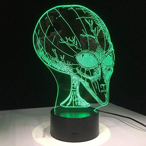 Nachtlampje 7 kleuren wijzigen 3D illusie pop eye Alien vorm lamp acryl nachtlampje met touch-schakelaar Luminaria kinderen lava lamp stereo licht