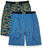 Calvin Klein Boys' Lounge Pajama Shorts, 2 Pack, Green/Dark Blue, 10-12
