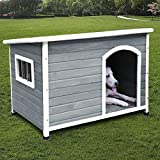 ROCKEVER Dog Houses for Medium Dogs Outside Weatherproof Insulated with Door Cute Dog House for Medium Dog Outdoor Wood Light Grey