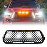 ToxicStorm Mesh Grille Front Grill Matte Black Compatible for Toyota Tacoma 2016-2019 with DRL & Turn Signal Lights and 3 Amber LED Lights