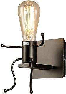 HaavPoois Aplique de Pared Vintage, Lámpara de Noche Led Lámparas de Pared Retro Industriales Lámpara de Pared de Jaula de Metal Aplique de Pared para Dormitorio Casa Bar Restaurantes Cafetería