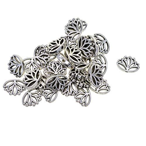 SDENSHI 30x Plata Tibetana Flor de Loto Cuentas de Metal Aleación Hallazgos de Joyería Manualidades