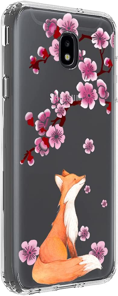 Ftonglogy Cute Pink Cherry Blossoms Design for Girls Women Phone Case for Samsung Galaxy J7 2018/J7 Aero/J7 Top/J7 Aura/J7 Crown/J7 Refine/J7 Eon/J7 Star/J7 V (Fox)