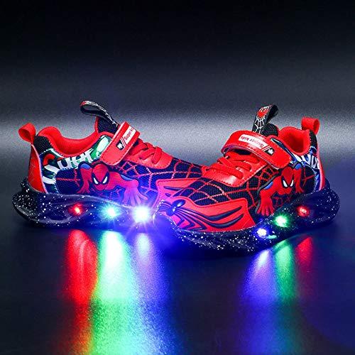 DTZW Kinder-Turnschuhe mit LED-Licht, blinkende Schuhe, für Jungen und Mädchen, Spinnenschuhe, leger, leicht, atmungsaktiv(Size:30,Color:A-Rot)