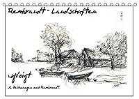 """Rembrandt Landschaften wgVoigt (Tischkalender 2022 DIN A5 quer): Meine Landschaftszeichnungen nach Rembrandt lenken den Blick auf den """"Alten Meister"""", den ich liebe. (Monatskalender, 14 Seiten )"""