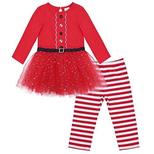 iiniim Süßes Baby Mädchen Bekleidungsset Weihnachtskleid Langarm Kleidung+Gestreift Hose+Weihnachtsmütze (86-92, Rot Stil 2)