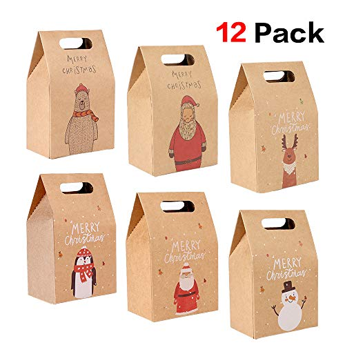 Howaf 12 Pezzi Scatole Regalo di Natale, Natale Sacchetti di Carta per bomboniere Natalizie, Caramelle, Alimentari, Biscotti, 2.4 ' x 3.6' x 6 .1'