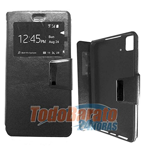 Todobarato24h Funda Libro Ventana Negra Fnac Phablet 4 Pulgadas Compatible con BQ aquaris E4 FHD HD