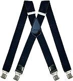 Tirantes Hombre X-Forma Elásticos Ancho 40 mm con clips extra fuerte totalmente adjustable (Azul marino)