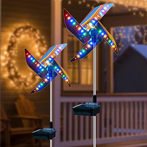 Phiraggit Luz solar para molino de viento, 2 piezas de luz solar para jardín enrollable, adecuada para decoración de césped de jardín al aire libre con luz de cuatro colores