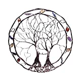 生命の木の金属の壁 アートウォールハンギング 生命の木の壁 ツリーオブライフラウンドウォールハンギングウォールアート メタルアイアンアートウォールデコレーション
