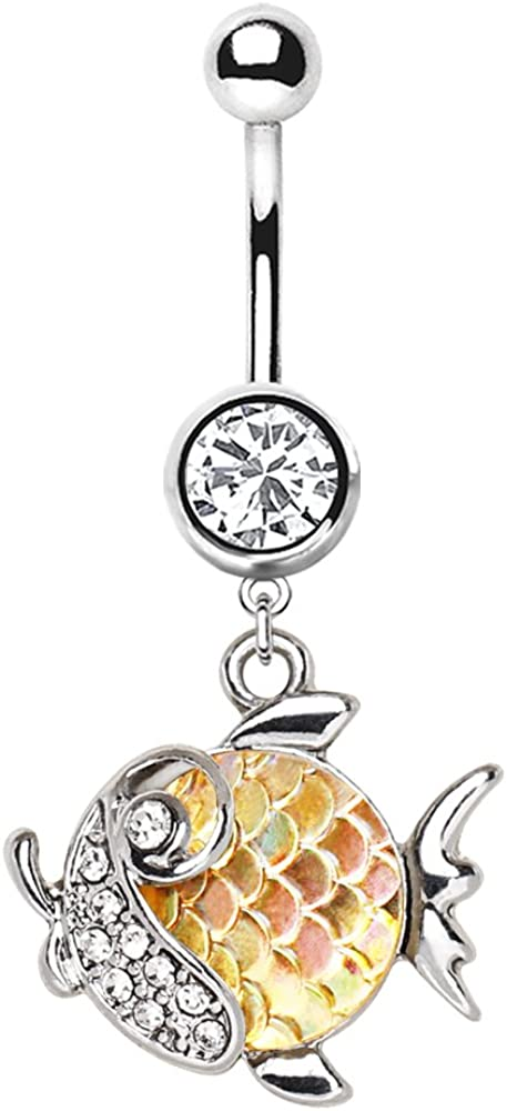 14G Stainless Steel CZ Crystal Jeweled Rainbow Fish Dangling Belly Button Ring