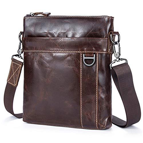Echtes Leder Messenger Bags Männer Handtaschen Mode Männliche Klappe Rindsleder Tasche 9010X3Oilcoffee 22Cm