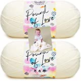 Lion Brand Pound of Love Yarn - 2 Pack with Pattern (Antique White)