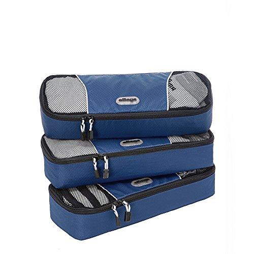 eBags Packing Cubes Packtaschen: 3-teiliges Packwürfel-Set Slim (Denim)