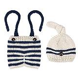 Kisangel 1 Pieza de Accesorios de Fotografía para Bebés Recién Nacidos Traje de Ganchillo Tejido a Mano a Rayas (Sombrero Beige+ Pantalón Azul Marino)