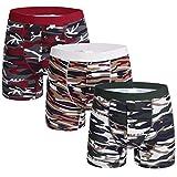 Nuofengkudu 3 Pack Hombre Tallas Grandes Calzoncillos Largos Deporte Boxers Ajustados Abierta Bulge Elastano Algodon Ropa Interior Comodos Underwear Hipster Rojo/Verde/Khaki Tamaño 4XL