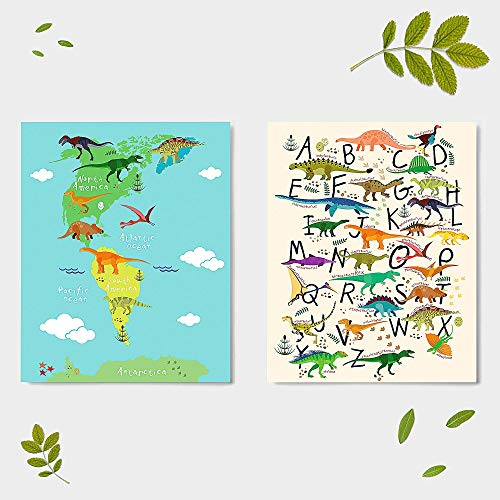 """Dinosaurs Prints Alphabets Wall Art Decor for Kids Bedroom - Map Posters - ABC - Room Dino Pictures (Set of 2) - Unframed - 8x10"""""""