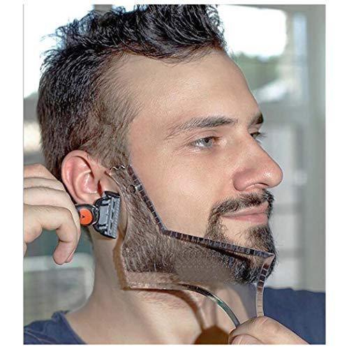 LucBuy Guía de Barba Herramienta Shaper o Plantilla Clara para Recortar y Afeitar, modelar la Plantilla con 4 líneas de Control de preparación y Peine de Bigote