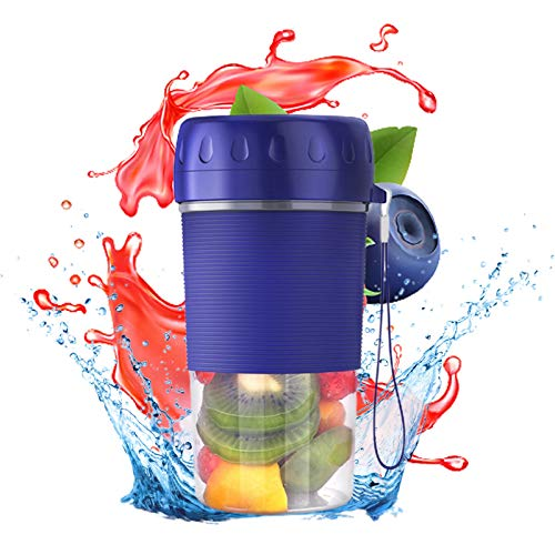 HshDUti Electric Mini Portable Blender Personal Blender USB Rechargable Juicer Smoothie Juice Maker Easy to Clean and Carry Blue