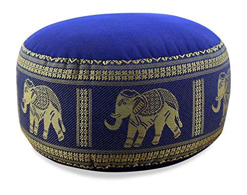 livasia Kapok Zafukissen, Sitzkissen, Yogakissen, Bodensitzkissen, Meditationskissen (blau-Elefanten)