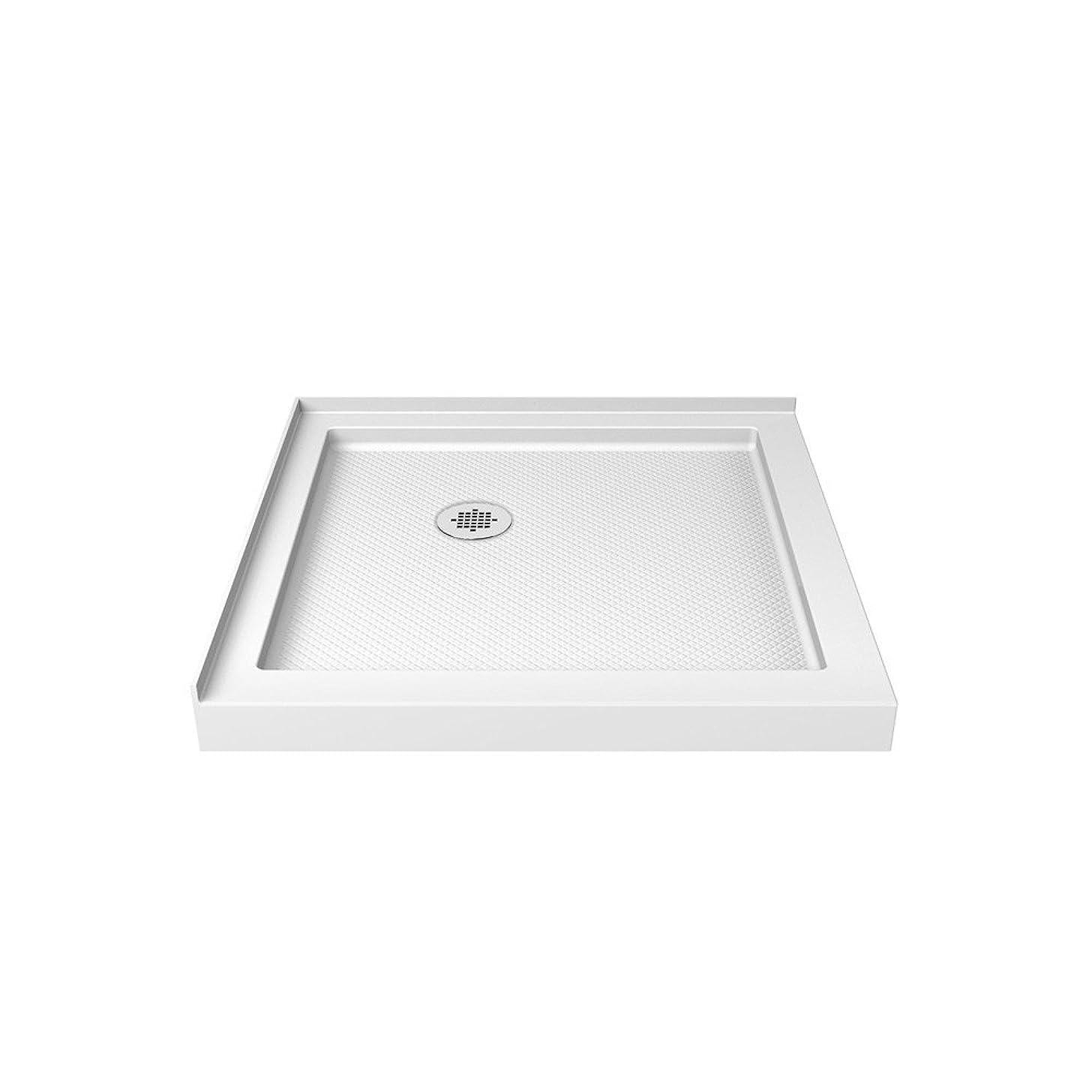DreamLine SlimLine 32 in. D x 32 in. W x 2 3/4 in. H Corner Drain Double Threshold Shower Base in White