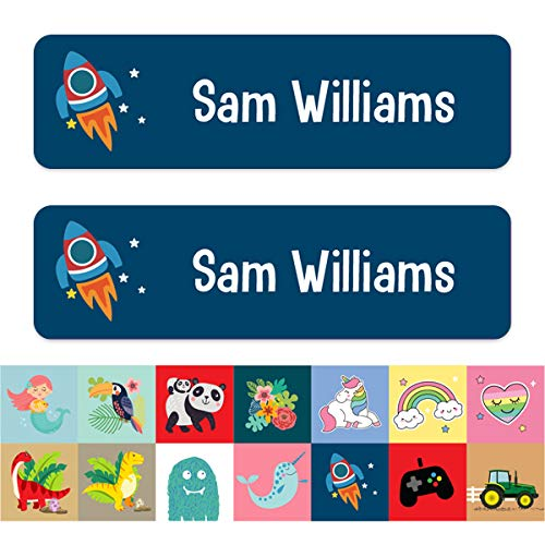 Medium Personalised Stick On Waterproof (Equipment) Name Labels - Pack of 42 - Range of designs available (Rocket)