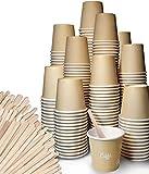 FMC SOLUTION Eco Kit Accessori da caffè e Tea 200 Bicchierini Caffe di Carta e 200 Palettine in Legno