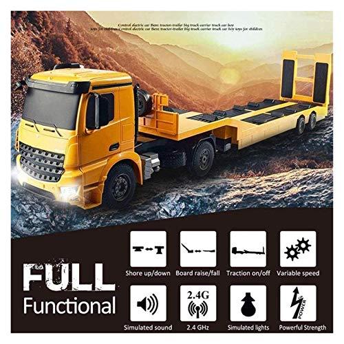 WYFX RC Excavadoras de Metales Pesados controladas por Acrobacias Camión Semirremolque Desmontable de Plataforma Plana Excavadoras de Metales Pesados controladas por contr