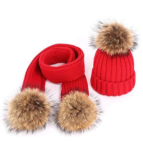 Mdder Children's Knitted Cotton Hat Winter Warm Comfort Son Fleece Solid Hat Scarf Two-Piece Mask...