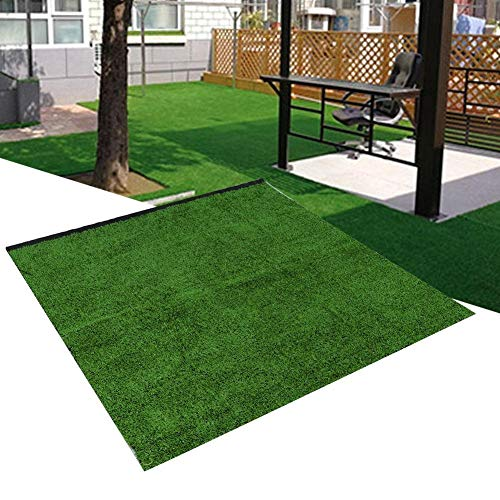 Eastbuy Tapete for césped - 10 mm de Grosor Césped de simulación Césped Artificial Césped Alfombra Jardín Paisaje 1x1m (Verde Militar y Esmeralda) (Color : Military Green)