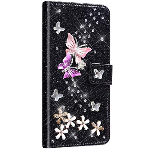 Saceebe kompatibel mit Galaxy S5 Hülle Leder Wallet Flip Case Glitter Diamante Ledertasche mit Schmetterling Strass Glitter Lederhülle Handytasche Schutz Kratzfest Schutzhülle,Schwarz