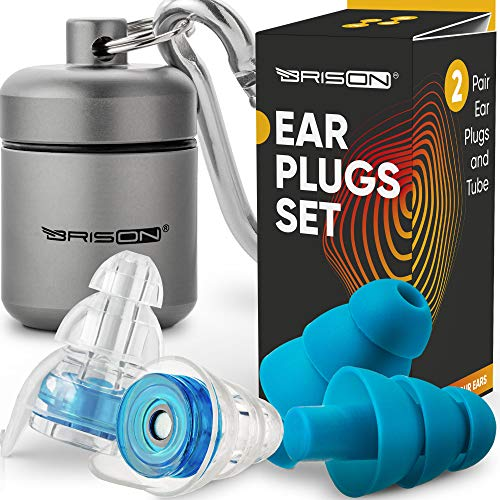Noise Cancelling Ear Plugs for Sleeping - Reusable Safe Silicone Earplugs Musicians Hearing Protection with High Fidelity Sound Reduction for Concerts Musicians Motorcycles Shooting Working- 2 Pairs