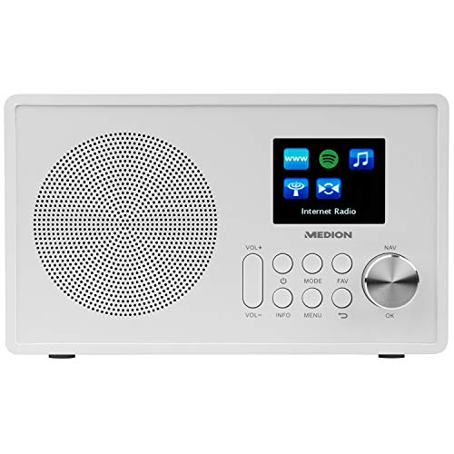 MEDION E85080 WLAN Internet-UKW Radio (RDS, Spotify, USB, AUX in, DLNA, UPNP) weiß