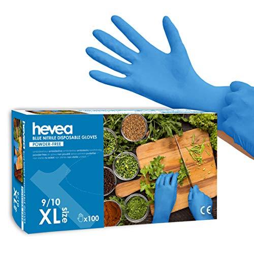 Hevea - Gants en nitrile jetables. Sans talc et sans latex. Boîte de 100 gants. Taille : XL (Très grande). Couleur : bleu