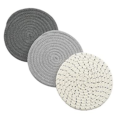 Potholders Set Trivets Set 100% Pure Cotton Thread Weave Hot Pot Holders Set (Set of 3) Stylish Cosaters, Hot Pads, Hot Mats,Spoon Rest For Cooking and Baking by Diameter 7 Inches (Gray)