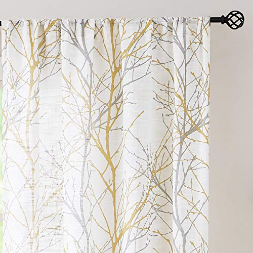 """Fmfunctex Blue White Tree Curtains for Living Room 54"""" Grey Branches Print Linen Textured Curtain Set for Bedroom Windows Laundry Room Linen Textured Country Rustic Semi-Sheer Drapes, 2 Panels"""