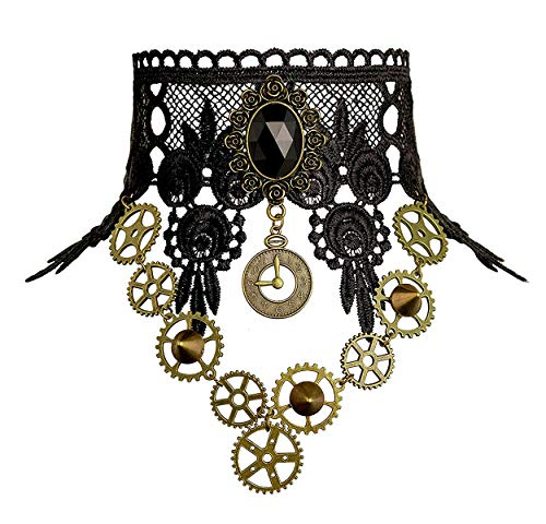Qrettie Choker Necklace for Steampunk Halloween Punk Costume Party Retro Gear Clock Cog Women Gothic Black Lace Necklaces Halloween Lolita Victorian Steam Punk Choker Pendant