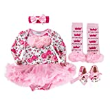 Lausana Baby Girls Birthday Outfit Clothes - Onesies Dress & Headband & Leg Warmers & Shoes Princess Sets 4pcs Pink