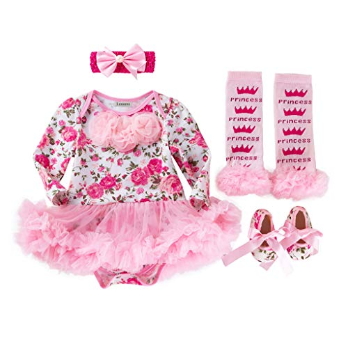 Lausana Baby Girl Dresses Clothes, Romper, Leg Warmers, Shoes, Headbands, First Birthday Outfit for Girls (0-24 Months) Pink