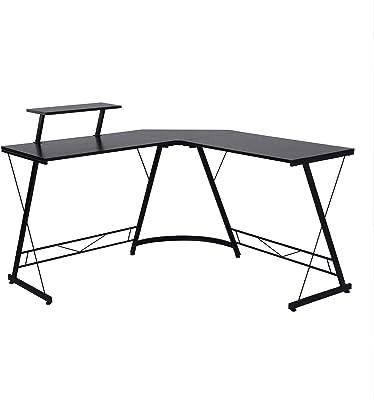 Computer Desk FurnitureR Modern L Shaped Corner Gaming Desk Workstation Study Desk with with Large Monitor Stand Home Office
